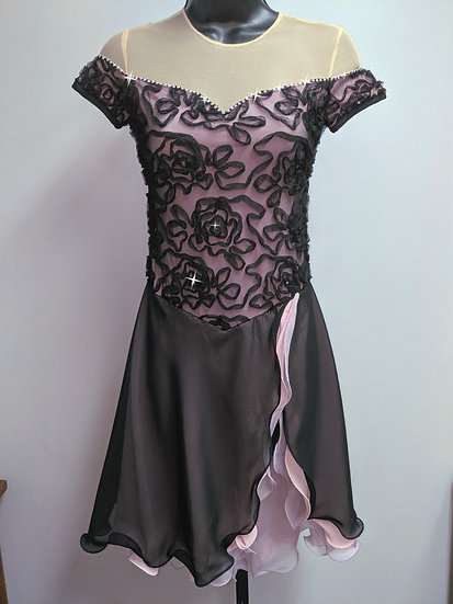 Black Soutache Lace Dance Skating Dress with Swarovskis ($279 USD)
