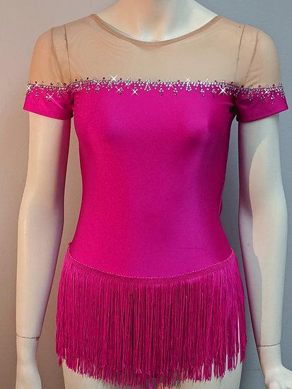 Fuchsia Skating Dress w/ Fringe Skirt & Rhinestones ($298 USD)