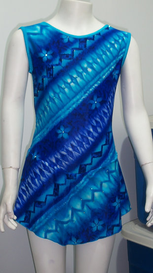Blue & Turquoise Print Skating Dress with Swarovskis ($68 USD)