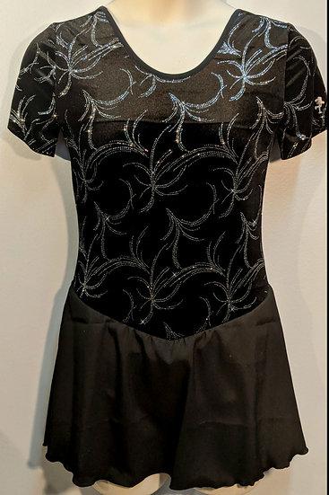 Black Sparkle Velvet Skating Dress