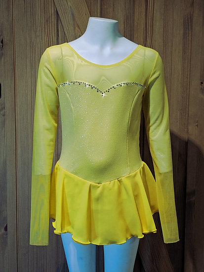 Yellow Sparkle Velvet Skating Dress with matching Chiffon & Mesh ($124 USD)