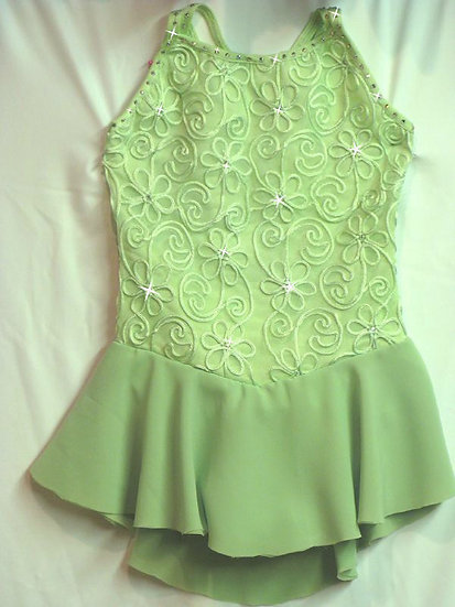Light Green Soutache-Lace Skating Dress with Swarovskis ($166 USD)