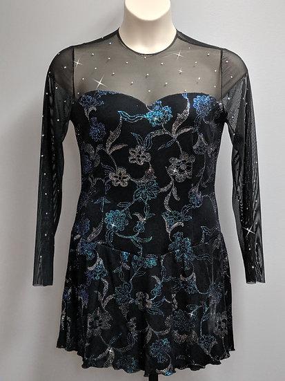 Black Sparkle Skating Dress with AB Rhinestones ($139 USD)