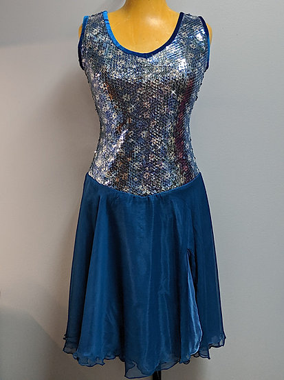 Blue Sequin Skating Dress with Silk Chiffon Skirts ($120 USD)