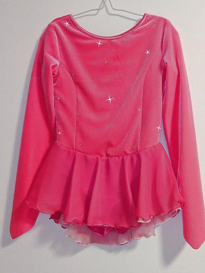 Bright Pink Velvet Skating Dress with Matching Chiffon Skirts ($124 USD)