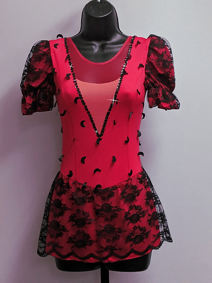 Red & Black Lace, Beaded Skating dress ($132 USD)