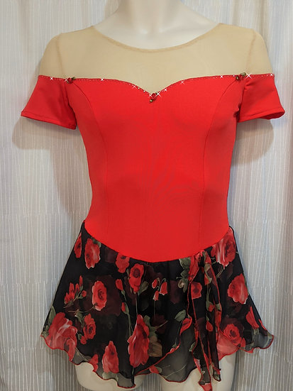 Red Off-the-Shoulder Skating Dress with Chiffon& Rhinestones ($117 USD)