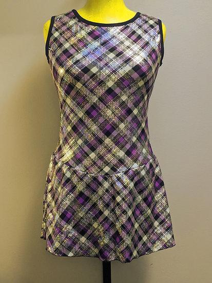 Purple, Black & Silver Foil Print Skating Dress w/Swarovskis ($36 USD)