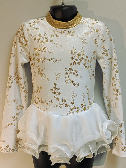 White/Gold Sparkle Velvet Skating Dress($130 USD)