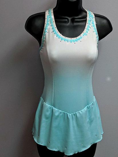 White & Aqua Dyed Skating Dress with Beading & Swarovskis ($162 USD)