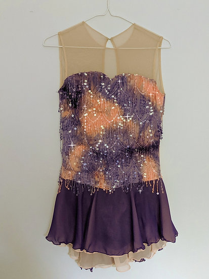 Purple & Peach Sequin Skating Dress with Matching Chiffon ($214 USD)