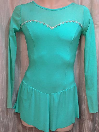 Beaded Aqua Skating Dress with Mesh ($117 USD)