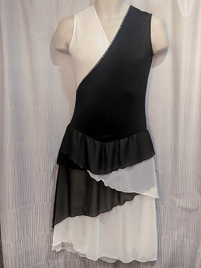 White and Black Beaded Dance Skating Dress ($154 USD)