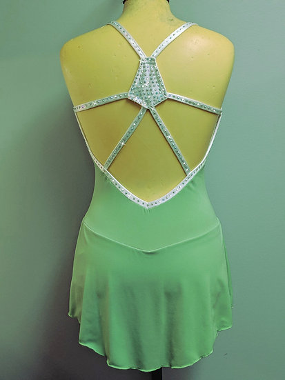 Green and White Skating Dress with Swarovskis ($222 USD)