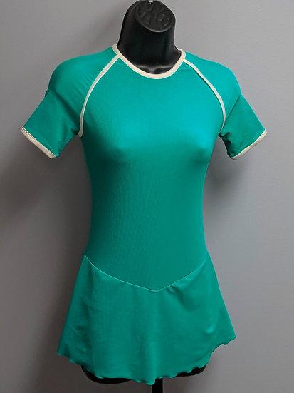 Raglan-cut Jade Skating Dress with White Piping ($71 USD)