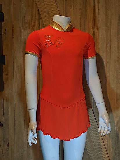 Burnt Orange Oriental-style Skating Dress with Dragon ($94 USD)