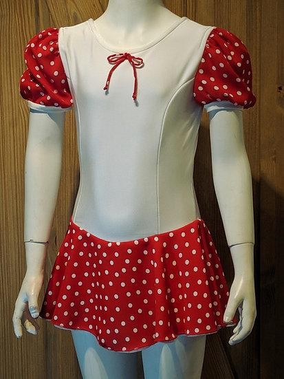 White Skating Dress with Red/White Polka Dot Sleeves & Skirt ($87 USD)