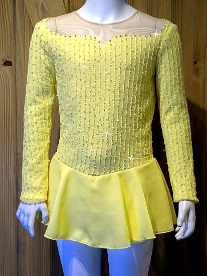 Yellow Lace/Sequin Skating dress w/ Chiffon Skirts & Swarovskis ($132 USD)