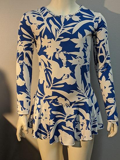 Royal Blue & White Skating Dress with Rhinestones ($39 US)