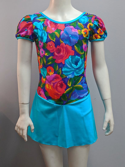Floral Print and Turquoise Skating Dress ($69 USD)