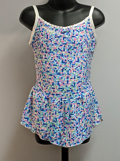 Blue, Pink & White Print Skating Dress w/ Swarovskis ($36 USD)