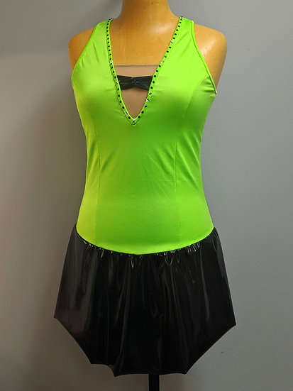 Bright Green and Black Skating Dress with Swarovskis ($146 USD)