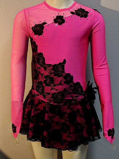 Bright Pink & Black Lace Skating Dress with Swarovskis ($186 USD)