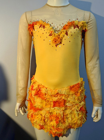 Golden Yellow Skating Dress with Silk Ruffle Skirt($278 USD)