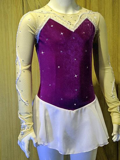 Royal Purple Velvet Skating Dress w/Beaded Vine Pattern & Swarovskis ($184 USD)
