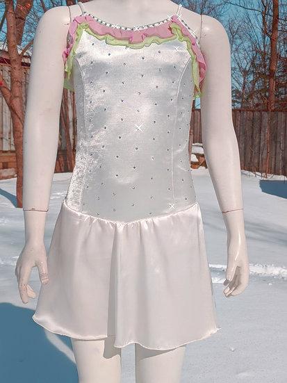 Off-White Satin Skating Dress with Ruffle & Swarovskis ($90 USD)