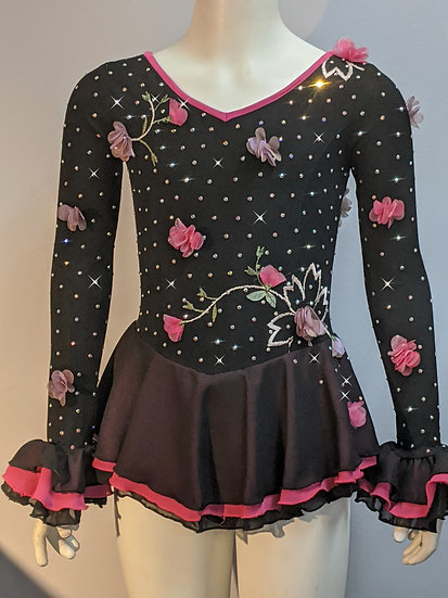 Black and Pink Lace Skating Dress with Swarovski ($301 USD)