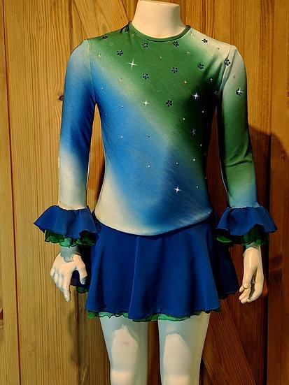Royal Blue & Green Skating Dress with Swarovskis and Chiffon ($139 USD)