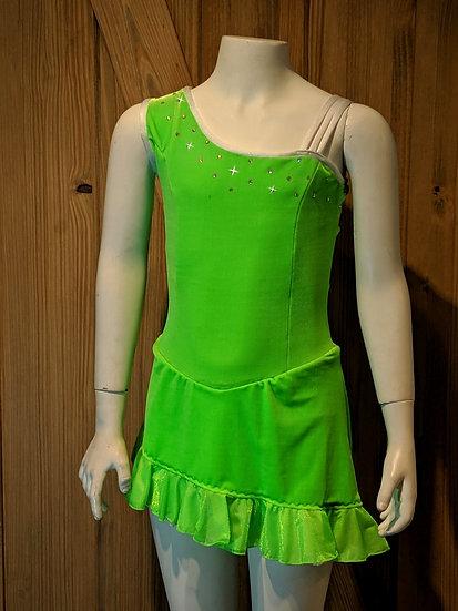 Bright Green Velvet and White Skating Dress w/ Rhinestones ($87 USD)