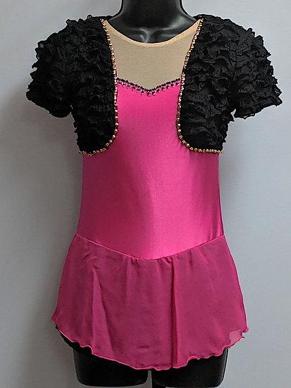 Beaded Fuchsia and Black Bolero-Style Skating Dress($135 USD)