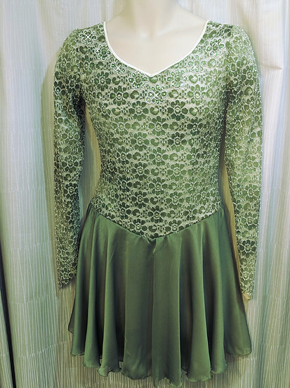 Green/Cream Lace Skating Dress w/ Swarovskis ($146 USD)