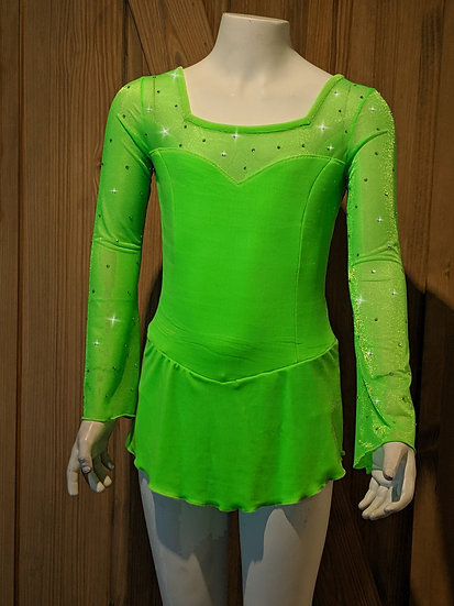 Bright Green Velvet and Mesh Skating Dress with Swarovskis ($106 USD)