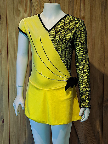 Yellow Velvet and Black Stretch Lace with Swarovskis ($230 USD)