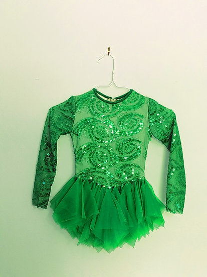 Kelly Green Sequin Skating Dress with Hankie Skirt ($143 USD)