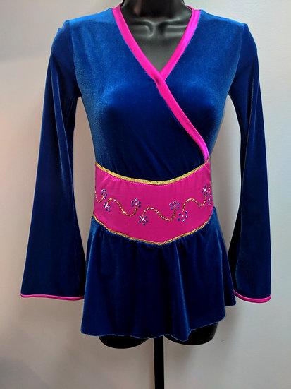 Royal Blue Velvet & Fuchsia Orietal-Style Skating Dress ($151 USD)
