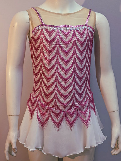 Beaded Magenta Lace and White Skating Dress($70 USD)