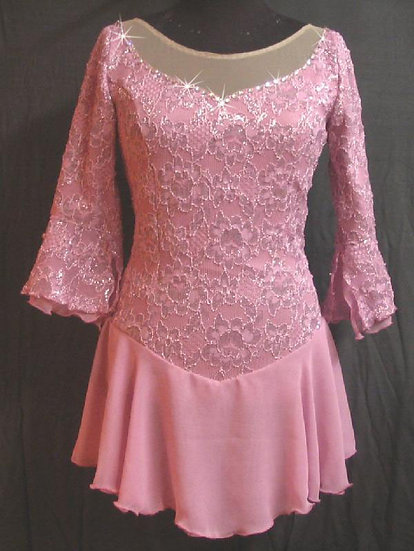 Dusty Rose Lace Skating Dress with Chiffon and Rhinestones ($124 USD)