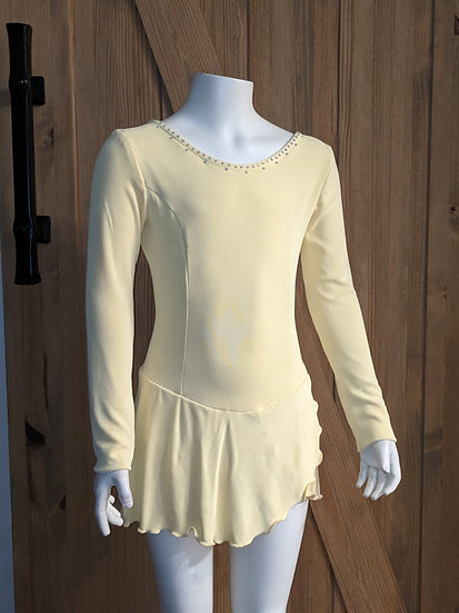 Yellow Skating Dress with AB rhinestones ($83 USD)