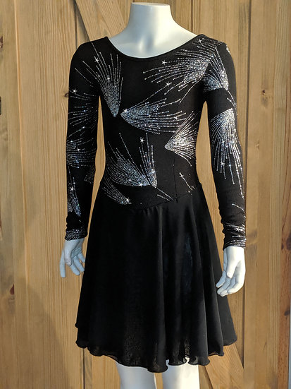Sparkly Black Dance Dress with Chiffon skirts ($94 USD)