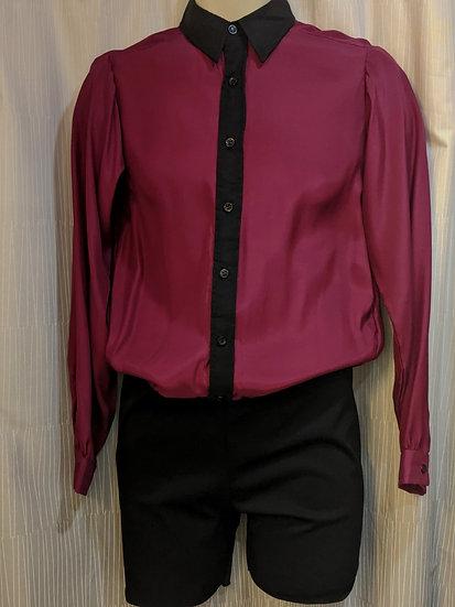 Maroon and Black Silk Mens Shirt ($240 USD)