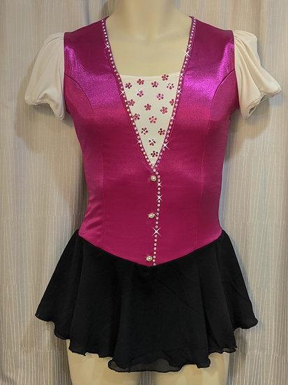 Magenta Satin Vest-look Skating Dress ($142 USD)