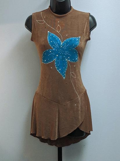 Mocha/Blue Skating Dress with Swarovskis ($110 USD)