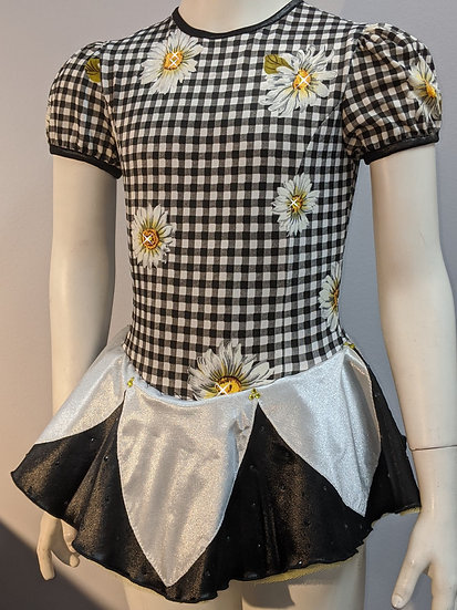 Black & White Gingham/Floral Pattern with Satin Petal Skirt ($124 USD)