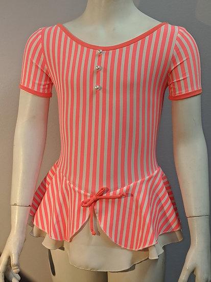 Bright Coral & White Striped Skating Dress ($56 USD)