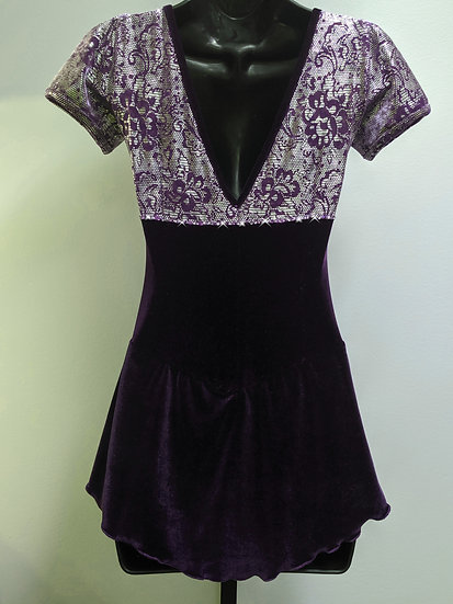 Plum Foil Velvet Skating Dress with Swarovskis ($102 USD)