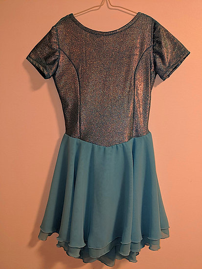 Aqua Hologram Dance Dress with Chiffon Skirts ($83 USD)